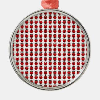 Rote kleine Marienkäfer Silbernes Ornament