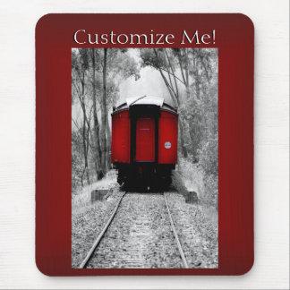 Rote Kombüsen-Vintager viktorianischer Dampf-Zug Mousepad