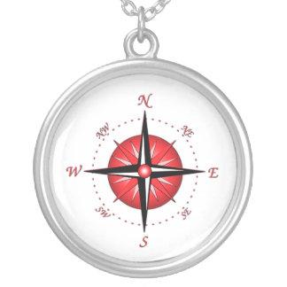Rote Kompass-Rose Halskette Mit Rundem Anhänger