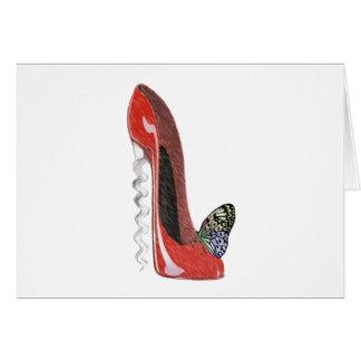Rote Korkenzieher-Stilett-Schuh-und Karte