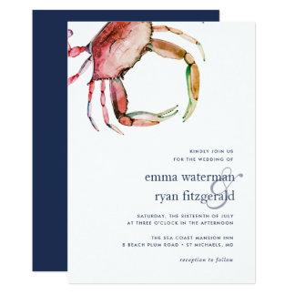 Rote Krabben-Hochzeits-Einladung Karte