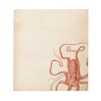 Rote Krake gealterter Sepia Steampunk Notizblock