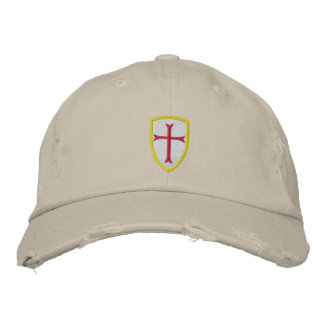 Rote Kreuzfahrer-Kreuz-Schild-Kappe Besticktes Baseballcap