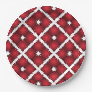 Rote Kugeln, weiße Raute-Retro Muster Pappteller