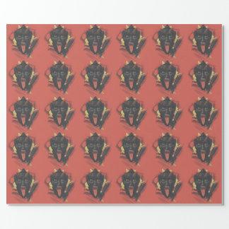 Rote lächelnde Krampus Schalter-Zunge Geschenkpapier