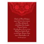 Rote lateinische Muster Quinceanera Einladungen