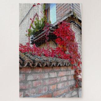 Rote laufende Pflanze und das Fenster Puzzle