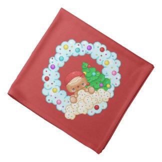 Rote Lebkuchen-Jungen-Kranz-Pixel-Kunst Kopftuch