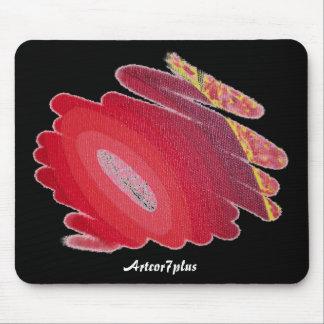 Rote Leidenschafts-Kunst-Spiralen auf schwarzer Mauspads