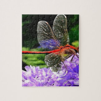Rote Libelle auf violetten lila Blumen Puzzle