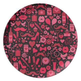 Rote Liebe Teller