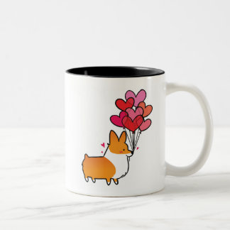 Rote Liebe-u. Herzencorgi-Tasse | CorgiThings Zweifarbige Tasse