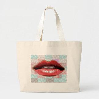 Rote Lippen und Muster-Hintergrund Jumbo Stoffbeutel