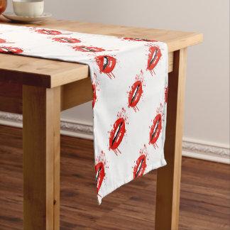 Rote Lippenschönheitsmake-upkußmode Kurzer Tischläufer