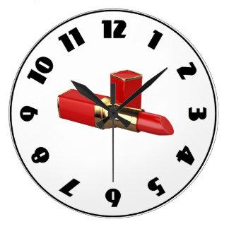 Rote Lippenstift-Uhr Große Wanduhr