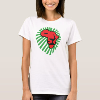 Rote Löwe-Grün-Mähne dieses mal für Afrika-Shirt T-Shirt