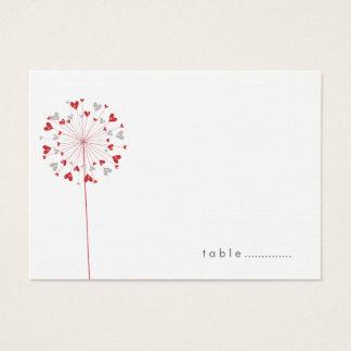 Rote Löwenzahn-Liebe-Sommer-Hochzeits-Platzkarten Visitenkarte