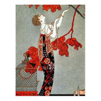 Rote Madame Art Deco Design Postkarte