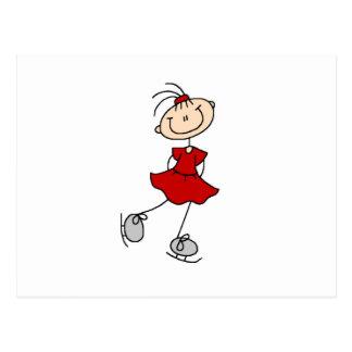 Rote Mädchen-Eis-Skater-T-Shirts und Geschenke Postkarten