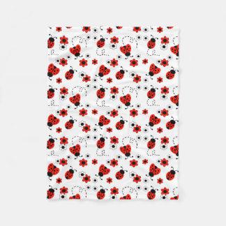 Rote Marienkäfer-Dame Bug Floral White Flowers Fleecedecke