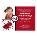 Rote Marienkäfer-Foto-Geburtstags-Einladung