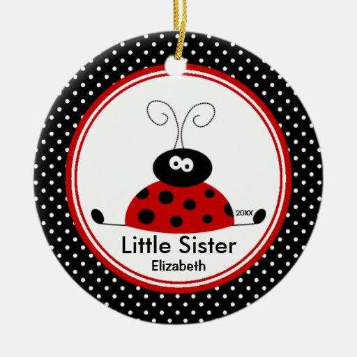 Rote Marienkäfer-kleine Schwester-Weihnachtsverzie Ornamente