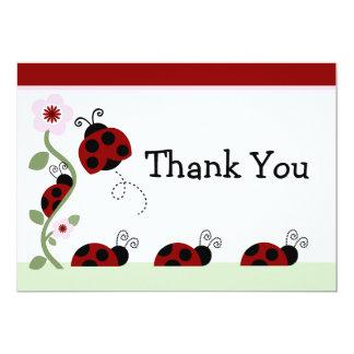 Rote Marienkäfer-und Blumen-Baby-Dusche danken 12,7 X 17,8 Cm Einladungskarte