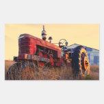 rote Maschine des alten Traktors Vintag Rechteckiger Aufkleber