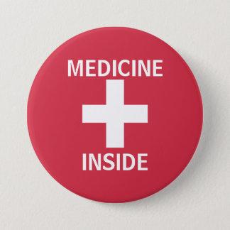 Rote Medizin innerhalb der Hilfe-Symbol-Medikation Runder Button 7,6 Cm