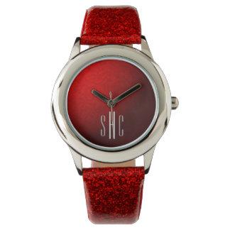Rote metallische und Glitzer-Uhr mit Monogramm Armbanduhr