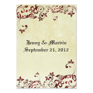 Rote mit Filigran geschmückte Hochzeits-Einladung 12,7 X 17,8 Cm Einladungskarte