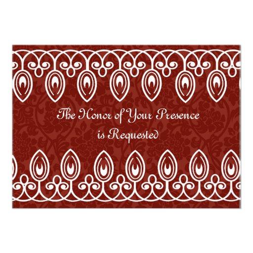 Rote mittelalterliche Brokat-Hochzeits-Einladung