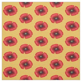 Rote Mohnblume des Singles auf gelbem Gewebe Stoff