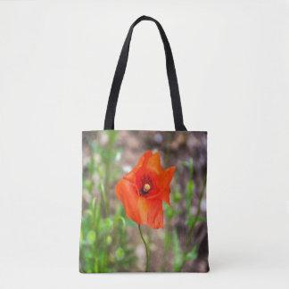 Rote Mohnblume ganz vorbei - drucken Sie Tasche