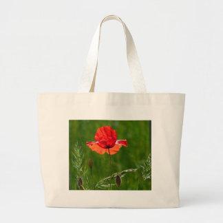Rote Mohnblume im Sommer Jumbo Stoffbeutel