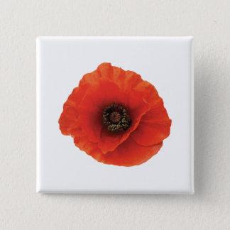 Rote Mohnblume Quadratischer Button 5,1 Cm