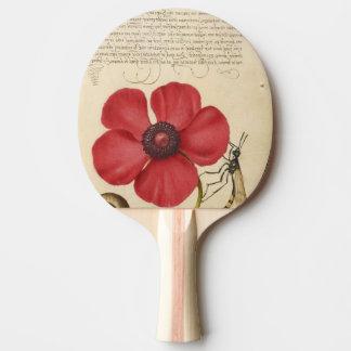 Rote Mohnblume und die Wanze Tischtennis Schläger