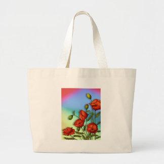 Rote Mohnblumen auf Mehrfarbenhintergrund: Kunst Jumbo Stoffbeutel