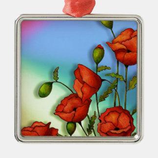 Rote Mohnblumen auf Mehrfarbenhintergrund: Kunst Quadratisches Silberfarbenes Ornament
