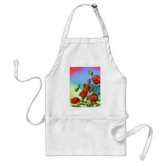 Rote Mohnblumen auf Mehrfarbenhintergrund: Kunst Schürze