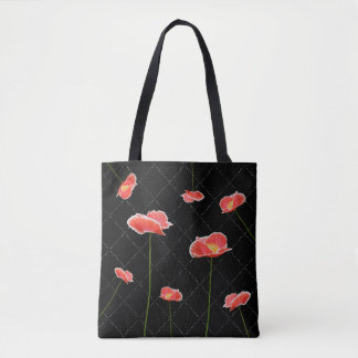 Rote Mohnblumen auf schwarzem einfachem aber schön Tasche