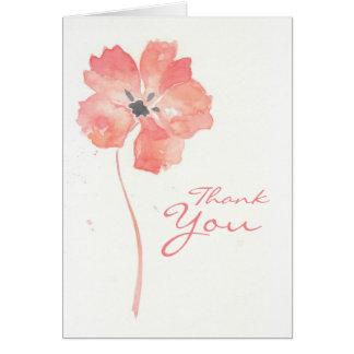 Rote Mohnblumen-Blume danken Ihnen zu kardieren Karte