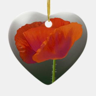 Rote Mohnblumen-Blume Keramik Herz-Ornament