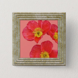 Rote Mohnblumen-Blume Quadratischer Button 5,1 Cm