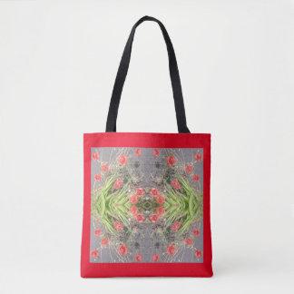 Rote Mohnblumen-Blumen-Fraktal-Taschen-Tasche Tasche