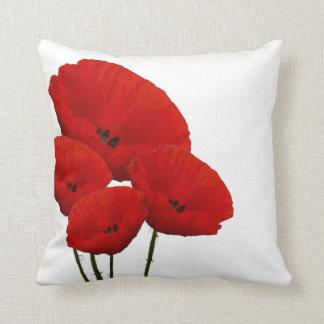 Rote Mohnblumen-Blumen Kissen