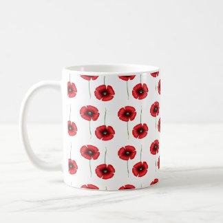 Rote Mohnblumen-Blumen-Muster Tasse