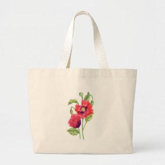 Rote Mohnblumen-Blumenkunst Jumbo Stoffbeutel