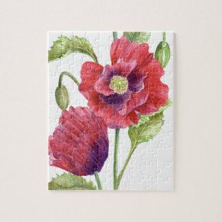 Rote Mohnblumen-Blumenkunst Puzzle