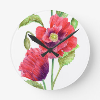 Rote Mohnblumen-Blumenkunst Runde Wanduhr